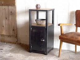 petit meuble d entrée bois métal au design industriel chene