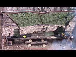 Bushcraft Survival Shelter Permanent Tarp Setup Oklahoma Woods