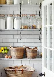 Subway Tiles With Dark Grout Marble Shelves Iron Bracketsswoon