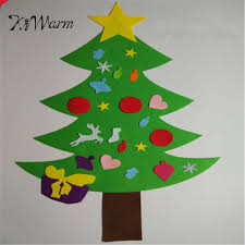 KiWarm 110cmX79cm Kids DIY Felt Christmas Tree With Ornaments Children Gift Door Wall Hanging Decoration Cool