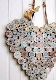 Items Similar To Recycled Coiled Paper Heart Neutral Natural Shades Handmade On Etsy