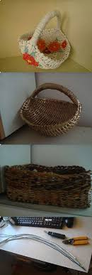DIY Basket Using Rolled Paper Newspaper Magazines