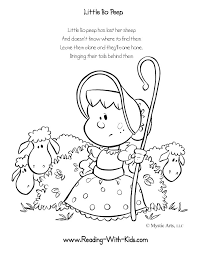 Little Bo Peep Coloring Page Other Nursery Rhyme Sheets