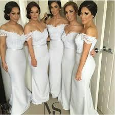 Lace Bridesmaid DressLong GownOff The Shoulder GownsMermaid DressesWhite Gowns2016 Dress