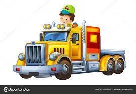 Cartoon Scene Happy Funny Child Boy Cargo Truck Trailer Illustration ...