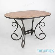 oval tile top outdoor dining table with iron base