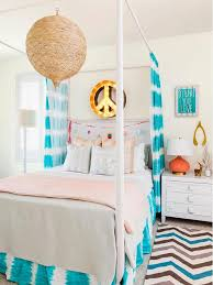 Orange and Turquoise Teen Girl Bedroom with Peace Sign Marquee