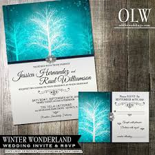 Winter Wonderland Wedding Invitation RSVP Stationery Suite Digital Printable Vibrant Blue And Pearl Colors