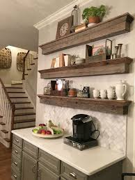 Rustic Reclaimed Wood Floating Shelves For A Traditional Kitchen