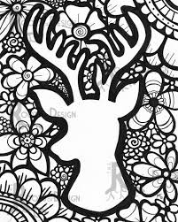INSTANT DOWNLOAD Coloring Page Deer Head With By RootsDesign If Youre