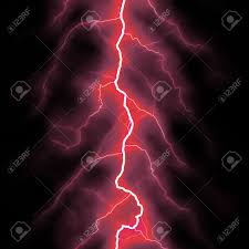 Red Lightning Bolt Over Black Stock Photo