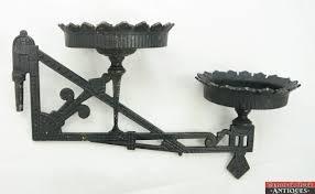 Antique Kerosene Lamps Ebay by Antique Eastlake Cast Iron Black Double Wall Bracket Oil Kerosene