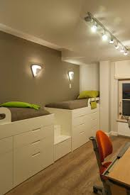 twin loft bed with desk in kids contemporary with building loft
