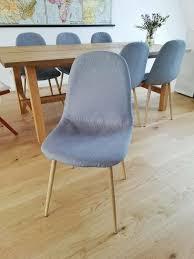 6er set schöne scandi stühle für esszimmer grau holz stoff