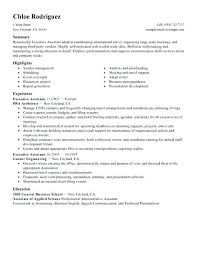 Resume Examples Executive Assistant Sample