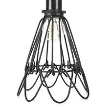 industrial metal bird cage l guard string light shade open