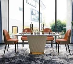 luxus designer esszimmer mit runden esstisch 4 x lehn stühle metall leder neu