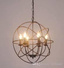 Vintage Industry Lighting Pendant Lamp FoucaultS Iron Orb Chandelier Rustic Loft Light Gyro American Country Style Diameter 50cm 65cm Lantern