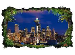 3d wandtattoo skyline seattle usa amerika bild selbstklebend wandbild sticker wohnzimmer wand aufkleber 11h471