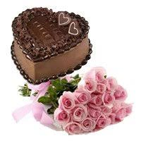 Flowers Delivery in India having Bunch of 15 Pink Roses 1 Kg Heart Shape Chocolate Truffle