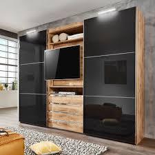 schwebetürenschrank magic kleiderschrank plankeneiche glas grau tv funktion 300 ebay