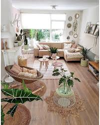 beige bohemian living room decor big window houseplants