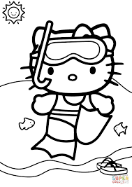 Swimming Coloring Pages Hello Kitty Goes Page Free Printable Gallery Ideas