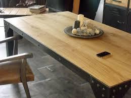 table de repas bois métal style industriel micheli design
