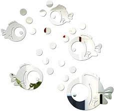 vorcool 3d acryl wandaufkleber fisch und bubbles spiegel aufkleber umweltfreundliche wandtattoos für schlafzimmer wohnzimmer badezimmer dekoration