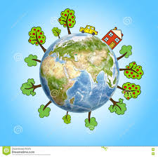 100 House Earth Planet With Drawn Trees And Car Around It Stock