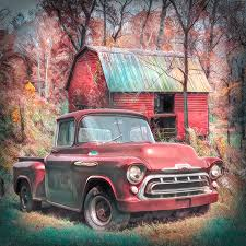 100 1957 Truck Love That Red Chevy Soft Painting Photograph By Debra And