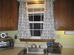 Kitchen Black And White Curtain Ideas With Geometric Design