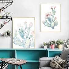 nordic kunstdruck pastell aquarell kaktus leinwand malerei poster botanische wand kunst bilder für wohnzimmer dekoration