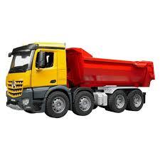 100 Yellow Dump Truck Bruder MB Arocs Half Pipe Red