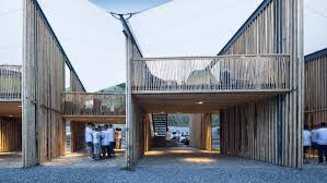 100 Raleigh Architects Tensile Fabric Stretches Over Bamboo Walls At