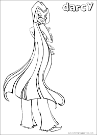 Darcy From Winx Club Color Page Cartoon Characters Coloring Pages Plate