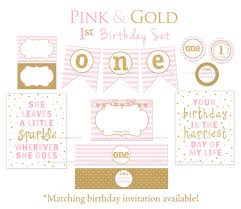 Pink And Gold Birthday Themes by Pink And Gold First Birthday Party Package First Birthday