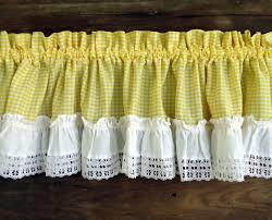 White Kitchen Curtains Valances by Vintage Curtains Valances Panels Yellow By Thesquirrelcottage