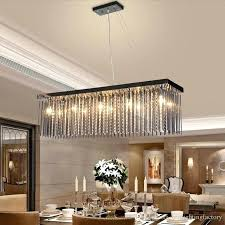 Dining Room Hanging Light Crystal Lamp Rectangular Pendant Lights Hotel Hall Table
