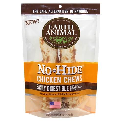 "Earth Animal - No Hide Chicken Dog Chews - 7"" 2 Pack"