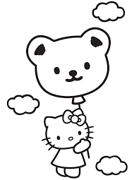 Hello Kitty In Sky With Teddy Bear Balloon Coloring Page
