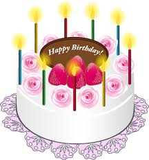 Cake with Candles Happy Birthday Art PNG Picture