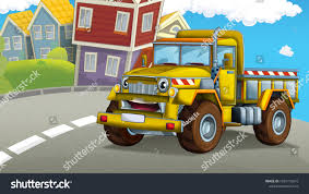 Cartoon Happy Funny Construction Site Truck Stock Illustration ...