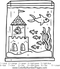 Fish Tank Color By Number Page