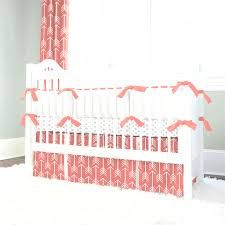 bumperless baby bedding mint coral chevron crib with remarkable