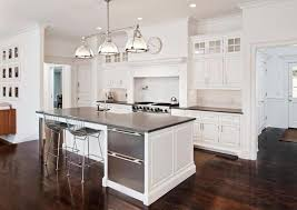 Decoration Dark Wood Floor White Kitchen The With Gray Counters And Stainless Appliances Leans
