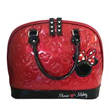 Mickey And Minnie Mouse Bath Decor by Mickey And Minnie Red And Black Patent Embossed Bag Standard