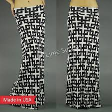 women fold over black white chain maze geometric print long maxi