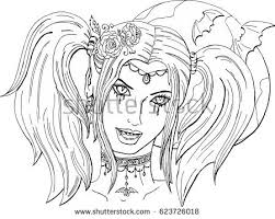 Coloring Pages For Adults Beautiful Girl Vampire