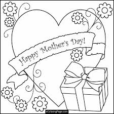 Happy Mothers Day Heart Flowers And Gift Box Printable Coloring
